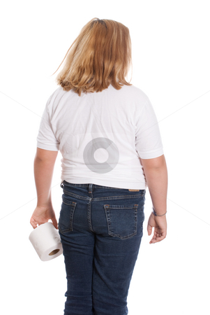 Girl Holding Toilet Paper stock photo, A young girl holding the toilet paper and walking away from the camera, isolated against a white background by Richard Nelson