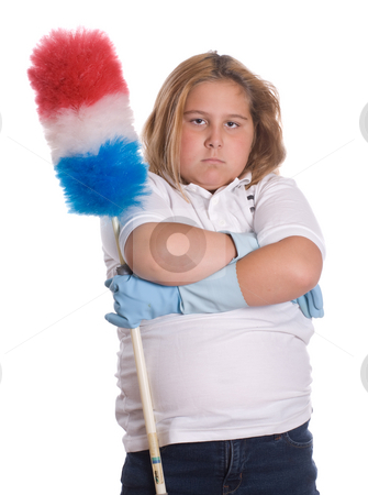 On Strike stock photo, A young girl mad because she has to do some cleaning chores, isolated against a white background by Richard Nelson