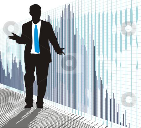 Businessman stock vector clipart, Businessman from the global graph, vector illustration by Čerešňák
