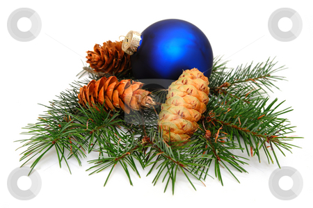 Christmas Decoration stock photo, Blue Christmas ornament with Fir pine cones on top of pines boughs by Lynn Bendickson