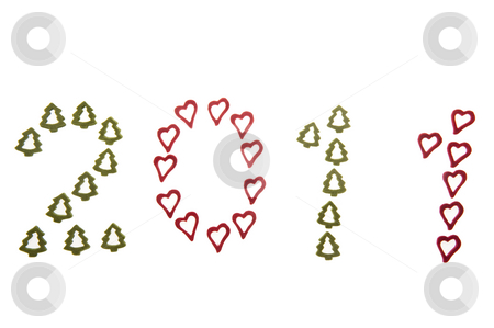 Ornamental 2011 stock photo, Year 2011 made from ornamental hearts and fir-trees. by Roberts Ratuts