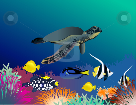Sea life illustration stock vector clipart, Beautiful sea life illustration by Surya Zaidan