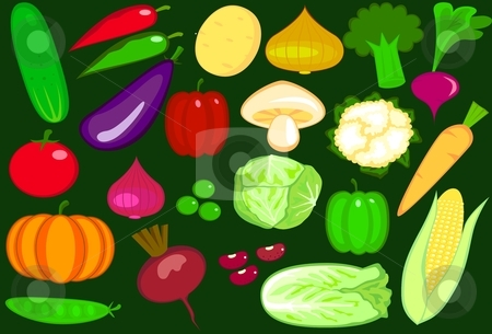 Vegetables stock vector clipart, Collection of vegetable vector illustration by Surya Zaidan