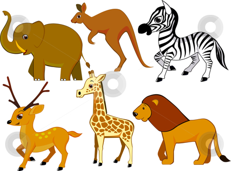 Animals cartoon stock vector clipart, Collection of wild animal cartoon by Surya Zaidan