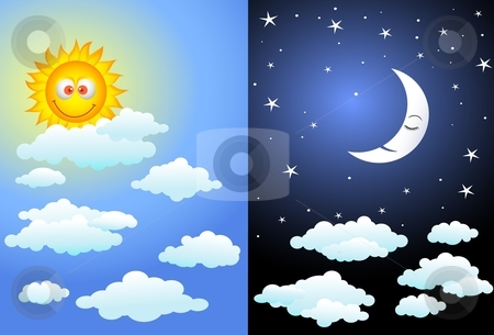 Day and night stock vector clipart, Illustration of Bright day and night by Surya Zaidan
