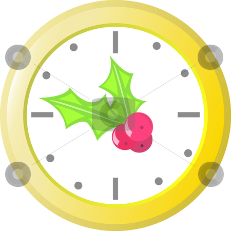 Holiday Clock stock vector clipart, Last minute shopping Holiday clock. by Jamie Slavy
