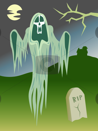 Scary Ghost in the Graveyard stock vector clipart, Ghost out haunting in the graveyard at night. by Jamie Slavy