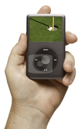Man's Hand Holding Electronic Gadget stock photo, Man's Hand Holding Electronic Gadget with Golf Green on Screen and Flag Isolated on a White Background. by Andy Dean