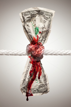 Wrinkled American Dollar Bleeding in Rope stock photo, Wrinkled American Dollar Tied Up and Bleeding in Rope. by Andy Dean