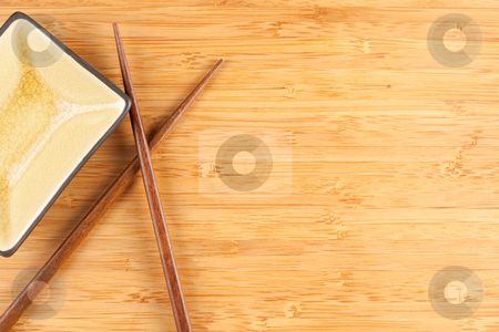 Bamboo Textured Surface Background stock photo, Bamboo Textured Surface Background with Chop Sticks and Bowl and Plenty of Room For Text. by Andy Dean
