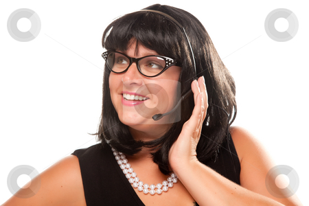 Black Haired Retro Receptionist stock photo, Black Haired Retro Receptionist Isolated on a White Background. by Andy Dean