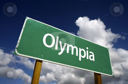 Olympia Green Road Sign stock photo, Olympia Road Sign with dramatic blue sky and clouds - U.S. State Capitals Series. by Andy Dean