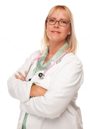 Attractive Female Doctor or Nurse on White stock photo, Friendly Female Blonde Doctor or Nurse Isolated on a White Background. by Andy Dean