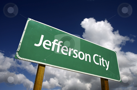Jefferson City Green Road Sign stock photo, Jefferson City Road Sign with dramatic blue sky and clouds - U.S. State Capitals Series. by Andy Dean