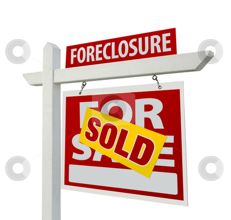 Sold Foreclosure Home For Sale Real Estate Sign Isolated stock photo, Sold Foreclosure Home For Sale Real Estate Sign Isolated on a White Background. by Andy Dean