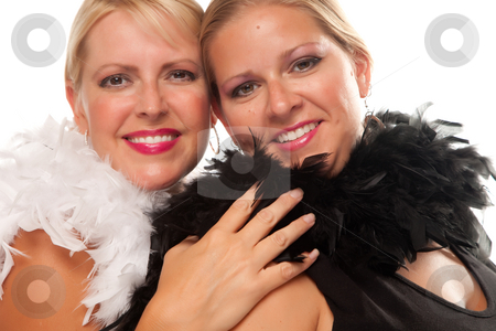 Portrait of Two Blonde Haired Smiling Girls stock photo, Portrait of Two Blonde Haired Smiling Girls with Feather Boas Isolated on a White Background. by Andy Dean