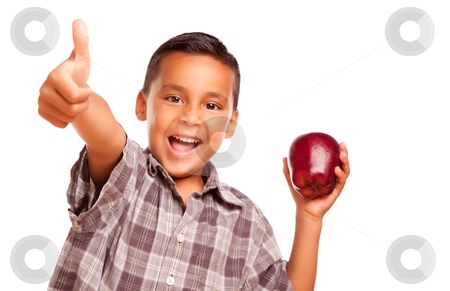 Adorable Hispanic Boy with Apple and Thumbs Up Hand Sign stock photo, Adorable Hispanic Boy with Apple and Thumbs Up Hand Sign Isolated on a White Background. by Andy Dean