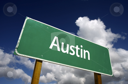 Austin Green Road Sign stock photo, Austin Road Sign with dramatic blue sky and clouds - U.S. State Capitals Series. by Andy Dean