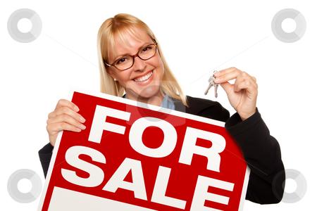 Attractive Blonde Holding Keys & For Sale Sign stock photo, Attractive Blonde Holding Keys & For Sale Sign Isolated on a White Background. by Andy Dean