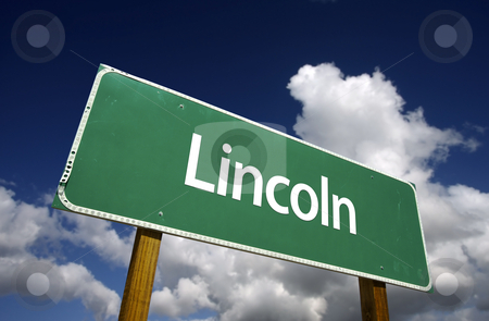 Lincoln Green Road Sign stock photo, Lincoln Road Sign with dramatic blue sky and clouds - U.S. State Capitals Series. by Andy Dean