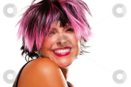 Pink And Black Haired Girl Smiling stock photo, Pink And Black Haired Girl with Nose Ring Smiling Isolated on a White Background. by Andy Dean
