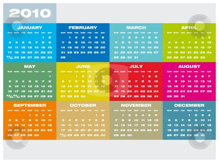 Calendar 2010 stock vector clipart, Colorful Calendar for year 2010 in vector format by Germán Ariel Berra