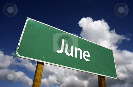 June Green Road Sign stock photo, June Green Road Sign with dramatic blue sky and clouds - Months of the Year Series. by Andy Dean