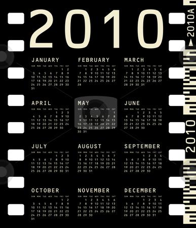 Photographic Calendar for 2010 stock vector clipart, 2010 Calendar inside a photographic film frame. by Germán Ariel Berra