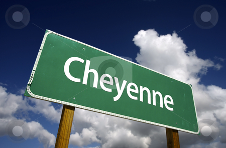 Cheyenne Green Road Sign stock photo, Cheyenne Road Sign with dramatic blue sky and clouds - U.S. State Capitals Series. by Andy Dean