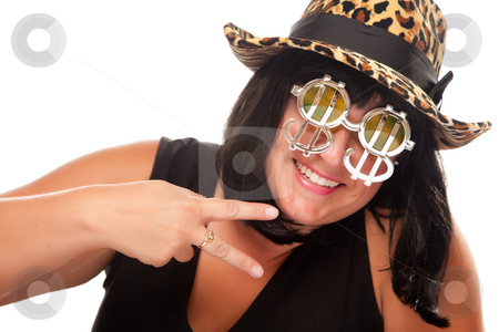 Beautiful Smiling Girl with Peace Sign  stock photo, Beautiful Smiling Girl with Peace Sign, Bling-Bling Dollar Glasses and Funky Hat Isolated on a White Background. by Andy Dean