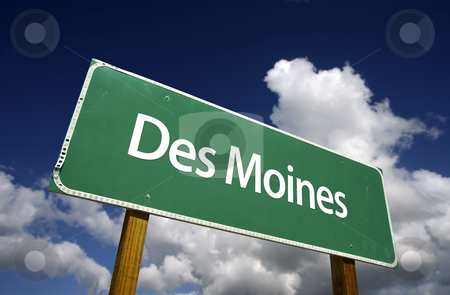 Des Moines Green Road Sign stock photo, Des Moines Road Sign with dramatic blue sky and clouds - U.S. State Capitals Series. by Andy Dean