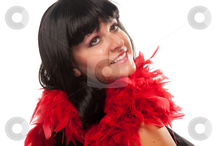Pretty Girl with Red Feather Boa stock photo, Pretty Girl Smiling with Red Feather Boa Isolated on a White Background. by Andy Dean