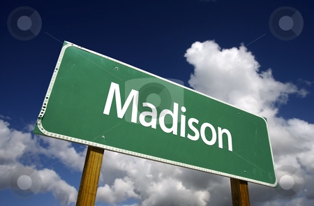 Madison Green Road Sign stock photo, Madison Road Sign with dramatic blue sky and clouds - U.S. State Capitals Series. by Andy Dean