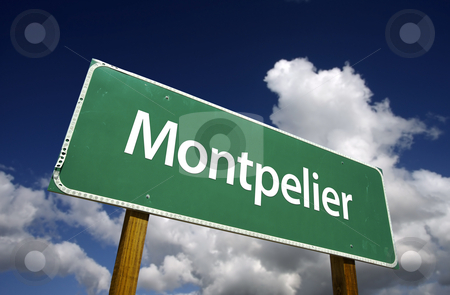 Montpelier Green Road Sign stock photo, Montpelier Road Sign with dramatic blue sky and clouds - U.S. State Capitals Series. by Andy Dean