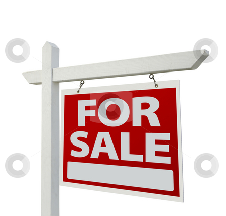Home For Sale Real Estate Sign stock photo, Home For Sale Real Estate Sign Isolated on a White Background. by Andy Dean