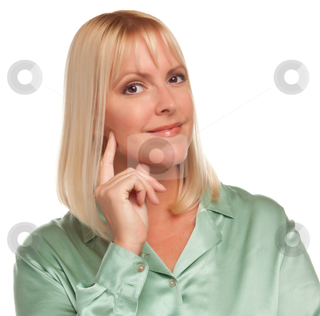 Attractive Blonde Woman stock photo, Attractive Blonde Woman Portrait Against a White Background. by Andy Dean