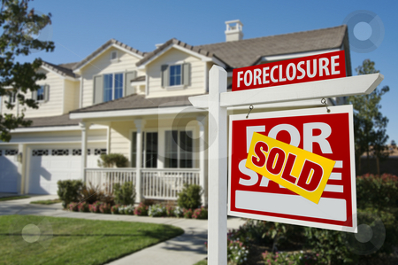 Sold Foreclosure Home For Sale Sign and House stock photo, Sold Foreclosure Home For Sale Sign in Front of Beautiful House. by Andy Dean