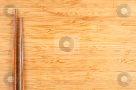Bamboo Textured Surface Background stock photo, Bamboo Textured Surface Background with Chop Sticks and Plenty of Room For Text. by Andy Dean