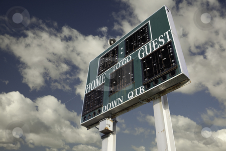 HIgh School Scoreboard stock photo, HIgh School Scoreboard with a Beautiful Sky and Clouds Background. by Andy Dean
