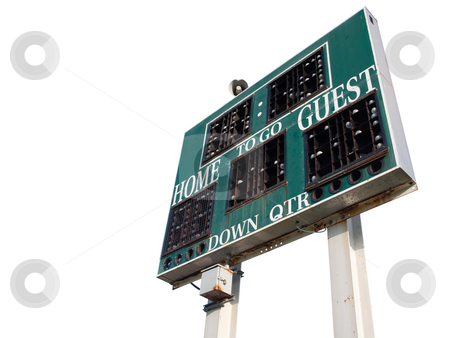 HIgh School Scoreboard Isolated stock photo, HIgh School Scoreboard Isolated on a White Background. by Andy Dean