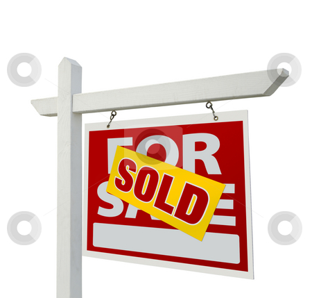 Sold Home For Sale Real Estate Sign stock photo, Sold Home For Sale Real Estate Sign Isolated on a White Background. by Andy Dean