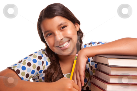 Pretty Smiling Hispanic Girl Studying stock photo, Pretty Smiling Hispanic Girl Studying Isolated on a White Background. by Andy Dean