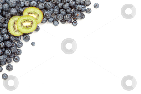 Kiwi and Blueberries Border stock photo, Kiwi and Blueberries Border Isolated on a White Background. by Andy Dean