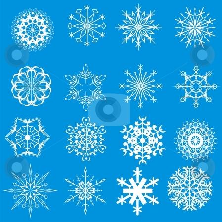 Christmas snowflakes stock vector clipart, White christmas snowflake on blue by Rimantas Abromas