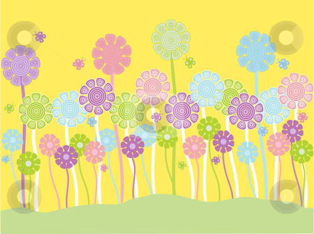 Pretty pastel flowers stock vector clipart, Vector illustration of pretty pastel flowers on a yellow background by Rachel Gordon