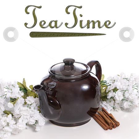 Cinnamon Tea stock photo, An old fashioned tea pot with some cinnamon and white flowers with removeable text on top by Richard Nelson