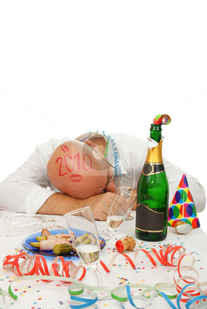 asleep man stock photo, asleep man  in new year on white background by Jolanta Dabrowska