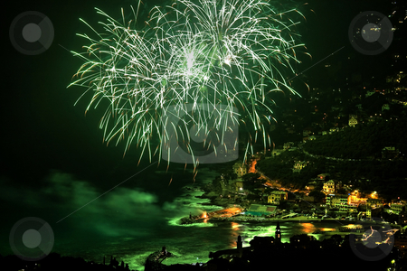 Firework HDR stock photo, Fireworks in recco during 8 september celebration by ANTONIO SCARPI
