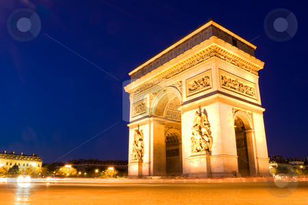 Arch of Triumph. Night stock photo, The Arch of Triumph at night. Paris by Peter Kirillov