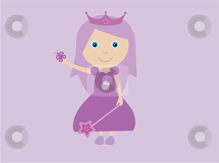 Purple princess stock vector clipart, Vector illustration of a girl dressed as a princess in purple with wand,tiara and butterfly on a lilac background by Rachel Gordon